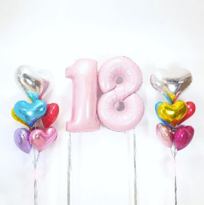 16 plus heart shape foil balloons